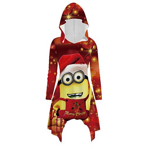 Soluo Women's Long Sleeve Slim Fit Ugly Christmas Sweater Hoodie Dress Sweatshirt Hoodie (Red 1,Large)