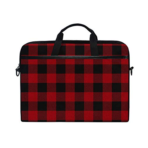 ALAZA Red Black Buffalo Plaid Checkered15 inch Laptop Case Shoulder Bag Crossbody Briefcase Messenger Sleeve for Women Men Girls Boys with Shoulder Strap Handle, for Her Him