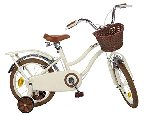 Toimsa Kinderfahrrad Vintage Bike 16 Zoll Beige   2 Felgenbremsen Korb Gepäckträger Abnehmbare Stützräder