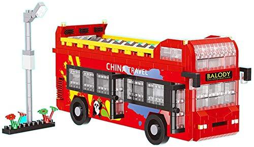 LAL6 Puzzle-blöcke Chinesisches Panda-Reisen Red Double Decker-Bus-Modell 3D DIY Diamant Mini-gebäude Nano Ziegelstein-Spielzeug-Geschenk