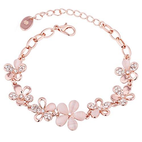 Happy Deals Merdia サクラブレスレットレディース フラワー 桜の花 ピンク腕輪 バングル 花びら ギフト 長さ調整可