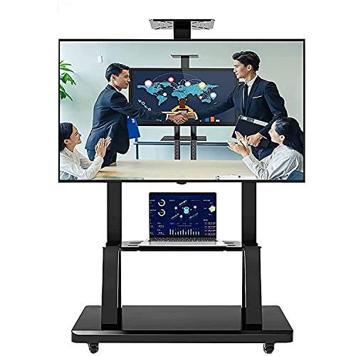 Soporte de TV móvil negro con ruedas para dormitorio, carrito de TV rodante con almacenamiento para televisores de pantalla plana de 40/50/55/65/70/75 pulgadas, soporte de pantalla de montaje de TV d