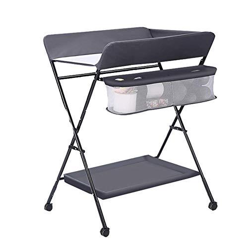 Baby veranderen tafel vouwen op wielen, hoogte verstelbare luier station dressoir voor baby draagbare wisselaar eenheid opslag (kleur : blauw)