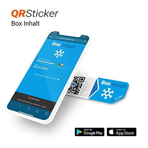 QRSticker Aufkleber für Inhalte von Frischhaltedosen, Tupperware, Kühlschränke, Inhalt und Verfallsdatum per Smartphone App speichern und abrufen, per QR-Code, Smart Home (XS, 16 Sticker)