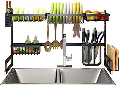 Qingluan Utensilios de cocina Estante de cocina, estante de baño de acero inoxidable Estante de cocina Negro Estante de estantería para cubiertos Estante para platos Estante de drenaje para platos, 2