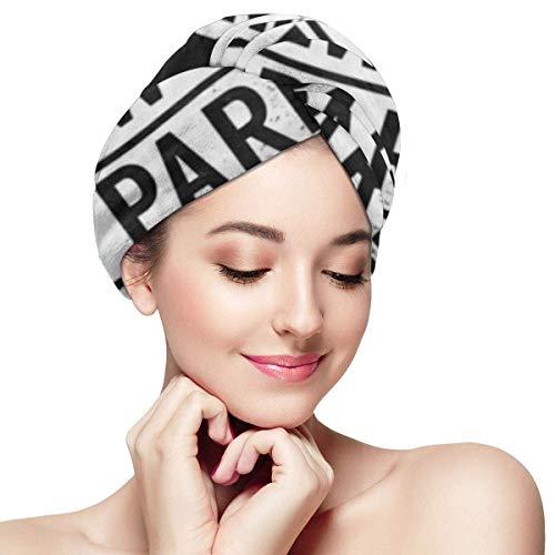 XBFHG Mikrofaser-Handtuchwickel für FrauenSchnelle trockene Haarkappe mit Knopf - Coole Rom New York Paris London Slogan-Grafik