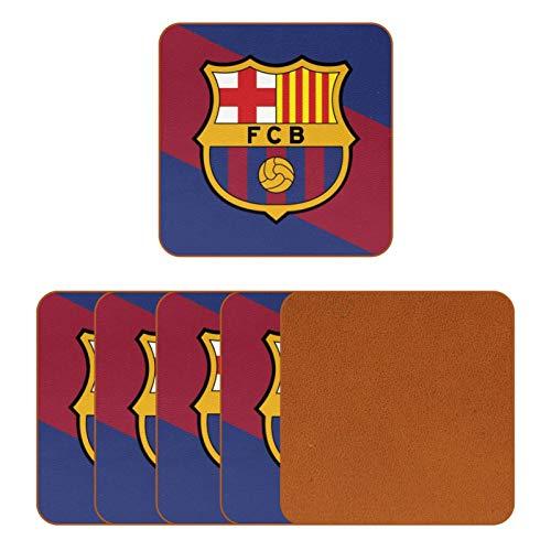 BENNIGIRY Bandera Color Emblema De Barcelona Posavasos de Cuero Taza de café Cuadrada Taza de Vidrio Manteles Individuales Tapetes para Tazas Manteles Individuales 6 PCS