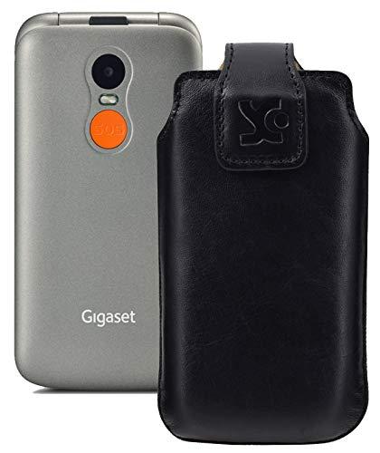 Suncase Original Tasche kompatibel mit Gigaset GL590 Hülle Leder Etui Handytasche Ledertasche Schutzhülle Hülle in schwarz