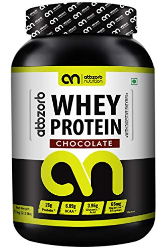 Abbzorb Nutrition Whey Protein 26g Protein   6.9g BCAA -with Digestive Enzymes (Chocolate, 1 Kg)