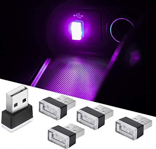 CTRICALVER 5 mini luces USB para automóvil, luces interiores universales USB inalámbricas, luces interiores LED portátiles, se pueden usar en automóviles, computadoras portátiles (rosado)