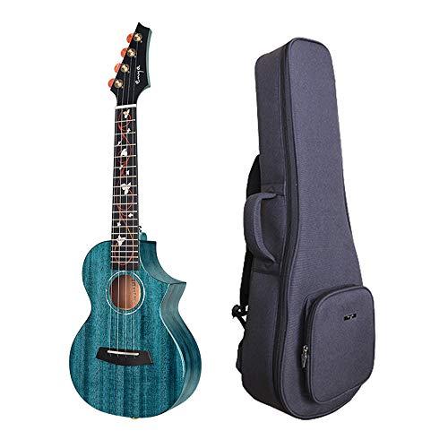 Enya 23Inch Concert Ukulele Blau mit AAA massivem Mahagoni Holz Ukulele 20mm gepolsterte Ukulele Tasche