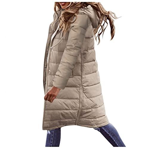 XUNN Chaqueta de plumón para mujer, abrigo largo de invierno con capucha, abrigo largo y cálido, con bolsillos, chaqueta acolchada para exteriores, aspecto de plumón, chaqueta de invierno, caqui, M
