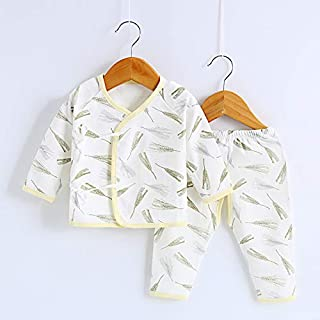 TZOU Baby Underwear Suits Long Sleeves Top and Casual Pants Newborn Infant Cotton Sleepwear Suit for 0-6M Yellow Wheat 66c...