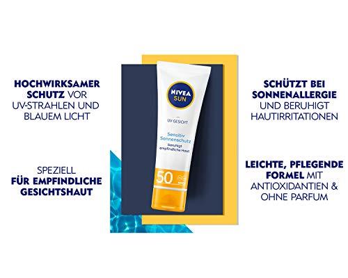 Nivea Sun, crema solare per il viso sensibile ai raggi UV, confezione da 1 (1 x 50 ml), crema viso con fattore di protezione solare 50+, per pelli sensibili, lenisce le irritazioni della pelle.