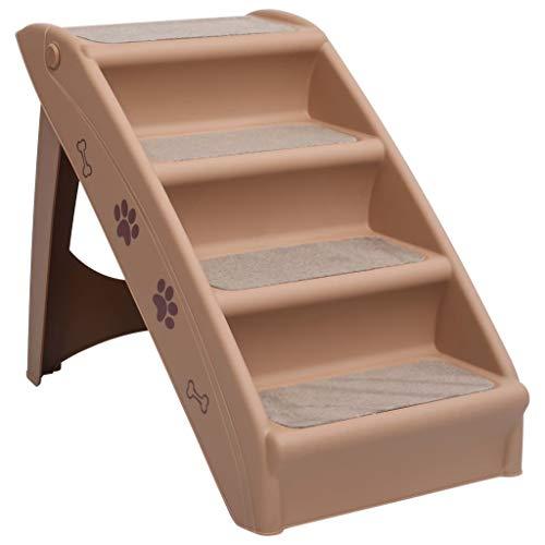 vidaXL Escalera Plegable para Perros Gatos Cachorro Automóvil Sofá Escalones Mascotas Mueble Acolchada Decoración Hogar Robusto Duradero Marrón