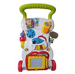 Laufwagen mit Zeichentafel, Piano und kleinem Telefon, Dominiti Lauflernwagen für Kinder Gehfrei