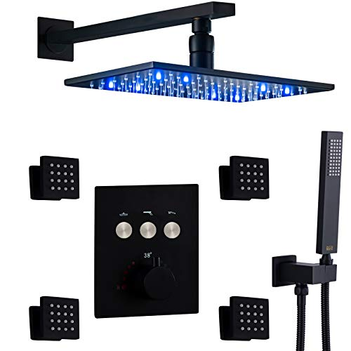 """DULABRAHE Thermostatic Rain Shower System Push Button Valve 8 X 12"""" LED Rainfall Matte Black Shower Head With Brass Massage Body Jets (Multiple Heads Can Run At a Time)"""