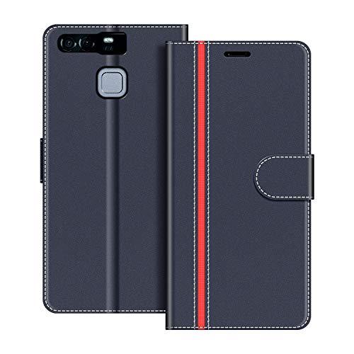 COODIO Handyhülle für Huawei P9 Handy Hülle, Huawei P9 Hülle Leder Handytasche für Huawei P9 Klapphülle Tasche, Dunkel Blau/Rot