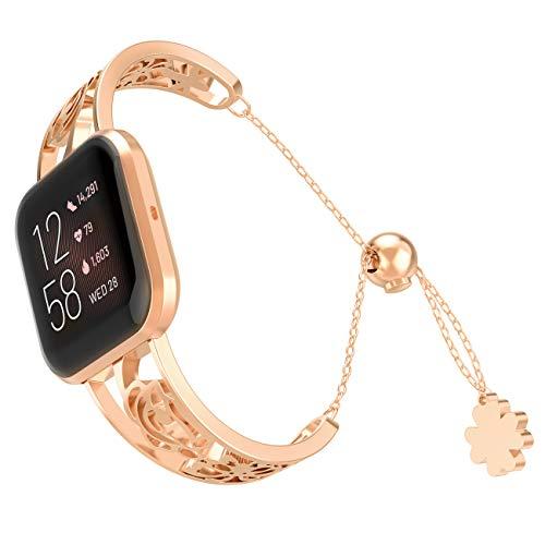 TiMOVO Uhr Armband Kompatibel mit Fitbit Versa/Versa Lite, Premium Ersatzband Uhrenarmband aus Edelstahl Metallband Strap mit Schmetterling - Rose Gold