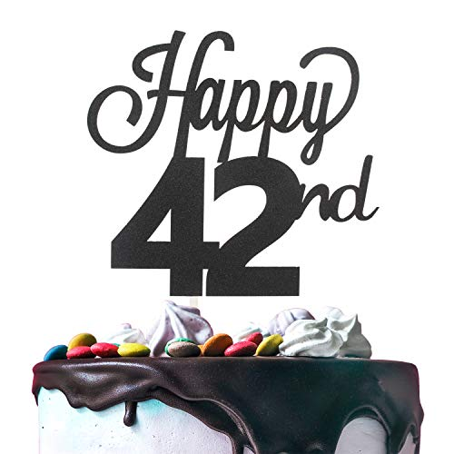 LINGTEER Happy 42nd Birthday Black Cake Topper Perfect for Cheers to 42 Years Old Birthday Party Gift Decorations Sign.