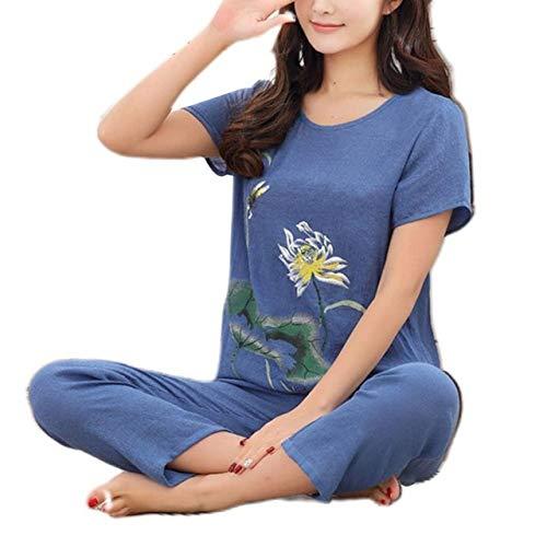 JFCDB Nachthemd Dames zomer plus size pyjama setLotus bloemenprint korte mouw tops Capri broek losse nachtkleding loungewear XL-4XL, RB, 4XL