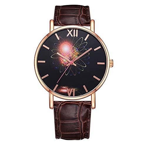 SUYANG Reloj Casual del Reloj De Cuarzo Reloj PU De Moda Mujeres Fijadas Patrón De Estrella Analógica Movimiento De Cuarzo Reloj De Pulsera (marrón)