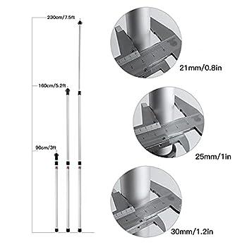 NZXVSE Bâtons de bâches télescopiques réglables en aluminium pour tente, camping, abri, auvent, camping-car, voiture et moto