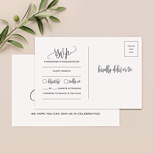 Bliss Collections RSVP Postkarten für Hochzeit, 50 Stück Antwortkarten, perfekt für Brautparty, Probe-Abendessen, Verlobungsparty, Babyparty oder jeden besonderen Anlass