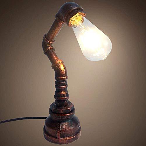 L.W.S Lámpara de Escritorio Lámpara de Mesa LED Creativa, Industrial, clásica, Retro, de ático con Dise?o de Tubo Oxidado para decoración, cafetería, Sala de Estar, Rojo