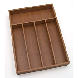 Lipper International 8876 Bamboo Wood Flatware Organizer with 5 Compartments, 10-1/4 x 14 x 2