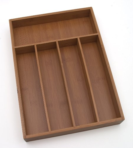 "Lipper International 8876 Bamboo Wood Flatware Organizer with 5 Compartments, 10-1/4"" x 14"" x 2"""