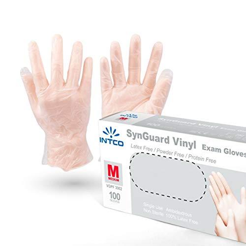 VENSALUD - Einweg-Vinylhandschuhe. Staubfrei. Schachtel mit 100 Handschuhen. Farbe: Halbweiß (M)