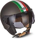 "MOTO Helmets® H44 ""Venice Titan"" · Casco · Jet omologato Moto Demi-Jet Vintage Scooter Motorino Motocicletta Helmet Piloto Urbano Helm Momo · ECE 22.05 Visor Click-n-Secure Borsa S (55-56cm)"
