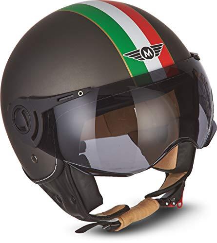 "MOTOHelmets® H44 ""Venice Titan"" · Jet-Helm · Motorrad-Helm Roller-Helm Scooter-Helm Bobber Mofa-Helm Chopper Retro Cruiser Vintage Pilot Biker Helmet · ECE Visier Schnellverschluss Tasche M (57-58cm)"