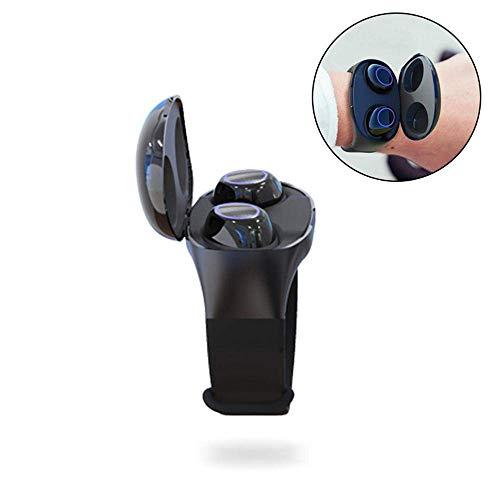 JIALONGZI Auricolari wireless Bluetooth con cassa di alimentazione, HM50 Stereo Sound Bluetooth 5.0 con microfono, impermeabile Hi-Fi cancellazione del rumore Nero