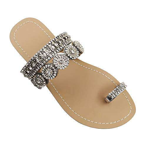 Mayou Flat Sandals for Women Flip Flops with Clip Toe Ring Rhinestone Crystal Jeweled Sandal Shoes for Summer Beach Oceanside Holiday Outdoor (10.5 M US, Sliver)