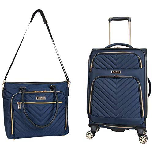 Kenneth Cole Reaction Women's Chelsea 2-Piece 20' Expandable 4-Wheel Carry-On Suitcase & Matching 15' Laptop Tote, Navy