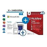 Microsoft 365 Family | fino a 6 persone | 1 abbonamento annuale |12+3 Mesi | PC/Mac | Codice via email + McAfee Total Protection 2021 | 6 Dispositivi | 1 Utente, 1 Anno | PC/Mac | Codice via email