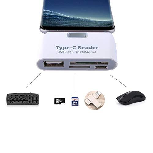 RUNNA TF + SD Card + Puerto USB a USB-C/Tipo-C Adaptador Lector de Tarjetas Kit de conexión con luz indicadora LED Easy to Use (Color : White)
