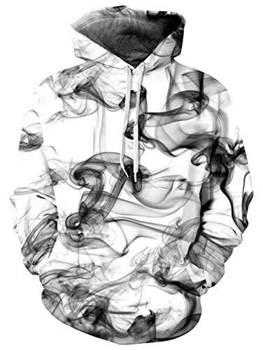 TUONROAD Hoodie Hombre Funny Humo 3D Impreso Blanco Sudaderas con Capucha Ligero Unisex Sweatshirt Confortable Pullover Colorido Manga Larga Sweater Hoody con Bolsillos Cordón S-M