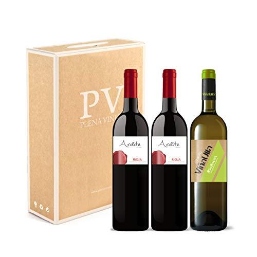 Vino tinto Rioja crianza 100% Tempranillo cosecha 2016 / Vino blanco Rías Baixas 100% Albariño Gallego cosecha 2019. Estuche 3 botellas (2 Ardite +1 ViñaUlla). Excelente pack mixto.