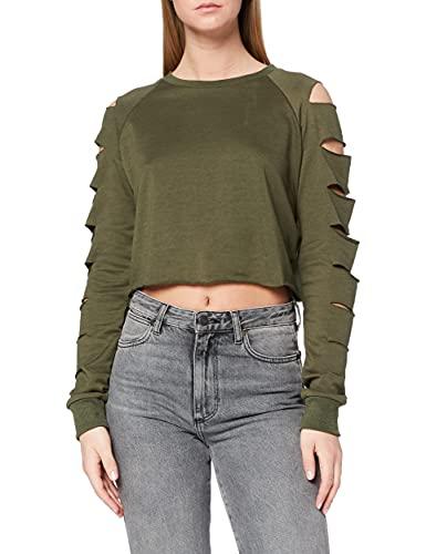 Neon Coco Long Sleeve Destroyed Ripped Crop Sweatshirt Sudadera, Verde (Green Army C20), 34 (Tamaño del Fabricante:S) para Mujer