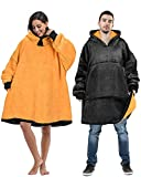 Oversized Wearable Blanket Sweatshirt Comfortable Sherpa Giant Hoodie Black