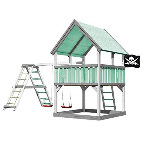 Akubi Karibu Spielturm LUIS Set Farbe Spielhaus + Doppelschaukel + Farbpaket