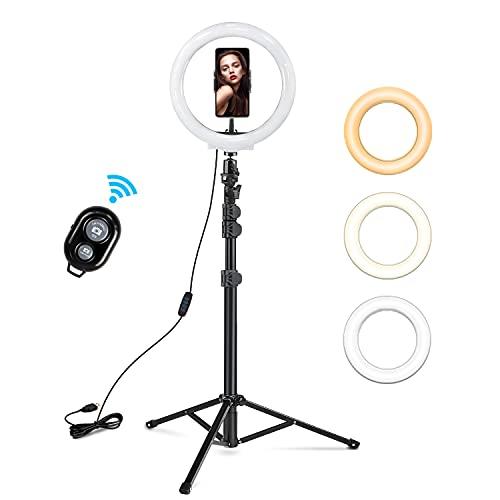 """Rhodesy 10"""" Luce Tik Tok ad Anello LED, Lampada Anulare Regolabile con Treppiede Telecomando Wireless 3 Modalita` di Illuminazione e 10 Livelli di Luminosità per Smartphone Makeup YouTube Video"""