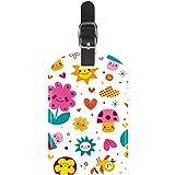 Etiquetas de equipaje de cuero con diseño de setas, flores, corazones, pájaros, maleta, 1 paquete
