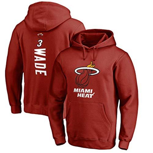 Rojo - Sudadera Dwyane Manga Larga Wade Suéter #3 Repetible Limpieza Calor Entrenamiento Miami Camisa Para Hombres