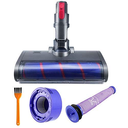 IUCVOXCVB Accesorios para aspiradora, cabezal de rodillo suave, cabezal eléctrico de liberación rápida, apto para Dyson V7 V8 V10 V11 Partes de aspirador con filtro (color púrpura gris)