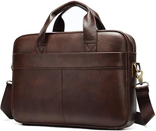 Businesstasche Herren Leder Aktentasche Männer Handtasche Vintage Laptoptasche Arbeitstasche Umhängetasche Schultertasche für 14 Zoll Notebook