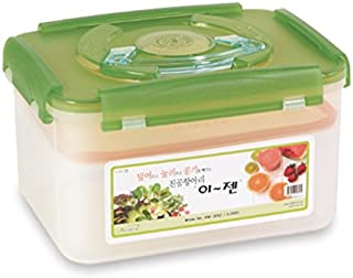 E-Jen Premium Kimchi, Sauerkraut Container Probiotic Fermentation with Inner Vacuum Lid (Earthenware Green, 1.3 gal/ 5.2L)